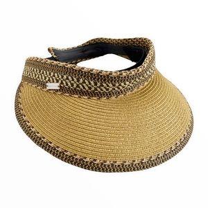 Betmar New York Visor Woven Straw Patterned Hat Adjustable Wide Brim